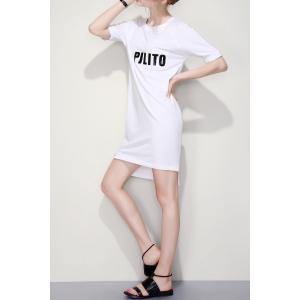 Letter Graphic Slit Shift Dress -
