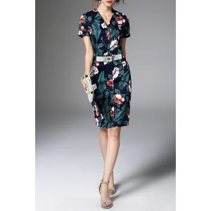 V Neck Belted Floral Print Dress -