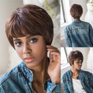 Black Brown Mixed Synthetic Fluffy Straight Short Layered Cut Wig