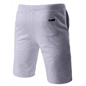 Lace-Up Solid Color Stylish Letter Embroidered Straight Leg Shorts For Men - GRAY M