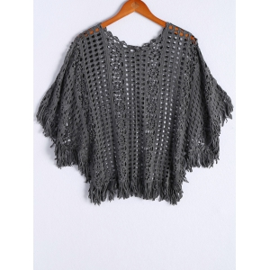 Stylish Round Neck Batwing Sleeves Crochet Top For Women
