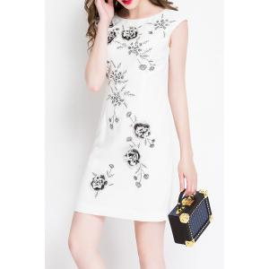 Flower Embroidered Sleeveless Mini Dress -