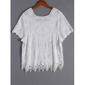 Casual Lace V-Neck Short Sleeves Blouse For Women -