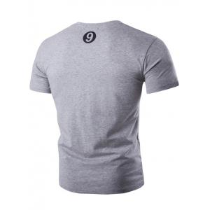 Round Neck Button Embellished Short Sleeve T-Shirt For Men - GRAY 2XL