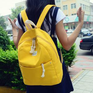 Simple Zippers and Canvas Design Backpack For Women