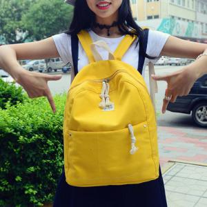 Simple Zippers and Canvas Design Backpack For Women - YELLOW