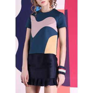 Round Neck Short Sleeve Color Block T-Shirt -