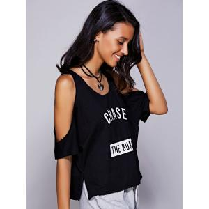 Casual Letter Print Cold Shoulder T-Shirt For Women - BLACK L