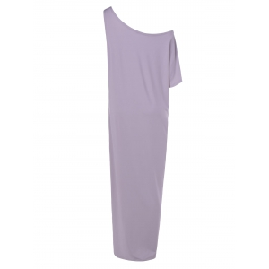 Casual Skew Collar 3/4 Sleeve Straight Solid Color Maxi Dress -