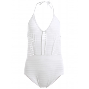 Attractive Halter Backless Openwork One-Piece Swimsuit For Women - White - Xl
