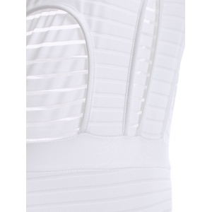 Attractive Halter Backless Openwork One-Piece Swimsuit For Women - WHITE S