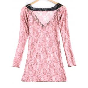 Sexy Lace Plunging Neck Long Sleeve Spliced Women's Babydoll -