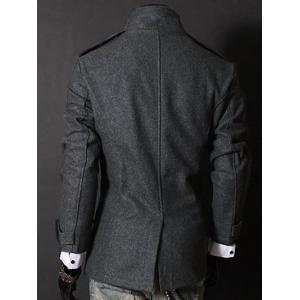 Fashion Stand Collar Double Breasted Long Sleeves Woolen Windbreaker For Men - GRAY M