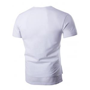 Round Neck Mesh Splicing Design Pocket Short Sleeve T-Shirt For Men - WHITE M
