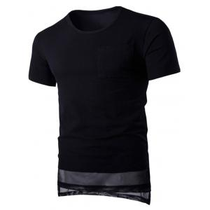 Round Neck Mesh Splicing Design Pocket Short Sleeve T-Shirt For Men - Black - M