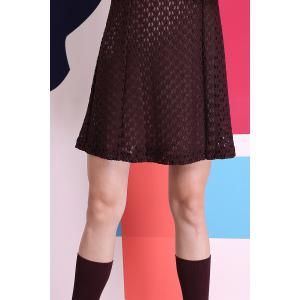 Short Sleeve Contrast Collar Lace Dress -