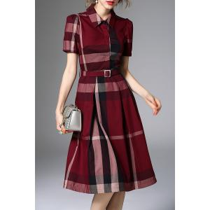 Waisted Corset Checked Dress -