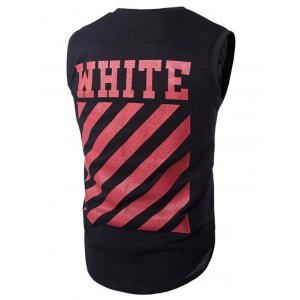 Round Neck Letter and Stripe Printed Mesh Sleeveless T-Shirt For Men - RED XL