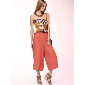 Refreshing Strapless Elastic Top + Wide-Leg Capri Pants Twinset For Women -