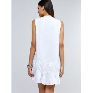 Preppy Sleeveless Frilly Embroidery Tie Front Dress -