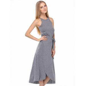 Casual Striped Tank Top + Tie Side High Low Skirt Twinset For Women -