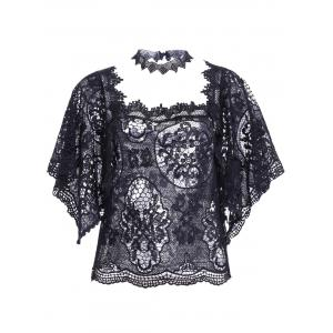 Lace Crochet See Though Cover Up Top -