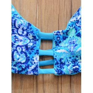 Charming Strappy Printed Double-Wear Hollow Out Women's Bikini Set - LAKE BLUE M