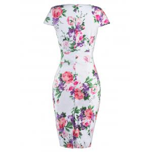 Floral Cheongsam Midi Bodycon Dress - RED WITH WHITE S