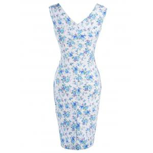 Retro Style Tiny Floral Print Bodycon Dress -