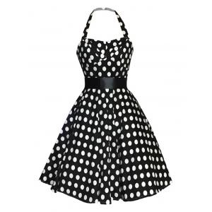 Retro Polka Dot Halter Sweetheart Neck Dress