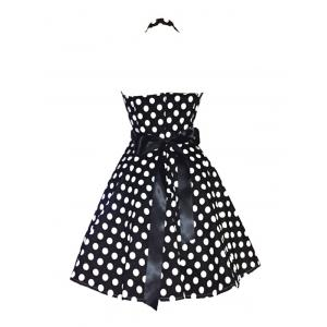 Retro Polka Dot Halter Sweetheart Neck Dress -