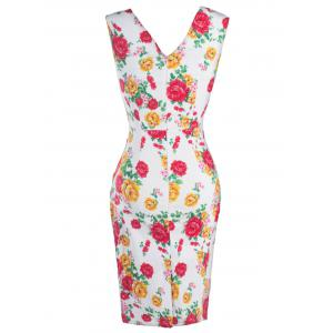 CheongSam Style Floral Print Concealed Zipper Dress - RED S