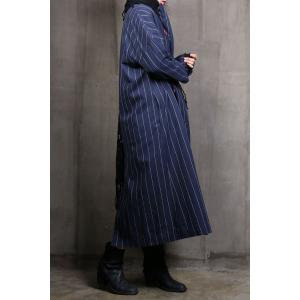 Striped Double Breasted Parka Coat -
