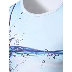 Fashion Round Collar 3D Drops Printed T-Shirt For Men -