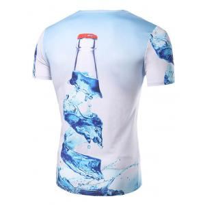 Fashion Round Collar 3D Bottle Printed T-Shirt For Men - COLORMIX L
