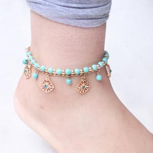 A Suit of Bohemian Style Rhinestone Girl Beaded Anklets - Green - M