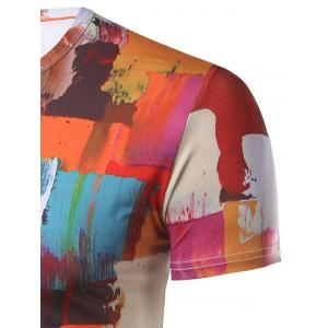 Fashion Round Collar Color Block Painting T-Shirt For Men - COLORMIX 2XL