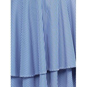 Attractive Spaghetti Strap Striped Flounced Dress For Women -