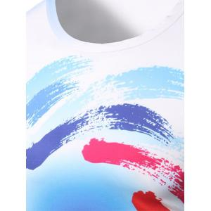 Fashion Round Collar Colorful Swirl Printing T-Shirt For Men -