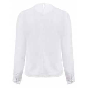 Stylish PU Collar Long Sleeve Hollow Out Blouse For Women - WHITE M