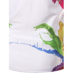 Fashion Round Collar Colorful Printing T-Shirt For Men - WHITE L