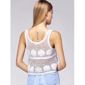 Sweet Hollow Out White Crocheted Tank Top For Women -