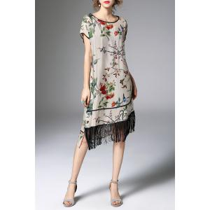 Floral Asymmetric Fringed Dress With Cami Dress -