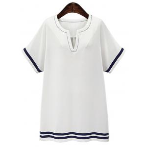 Plus Sizse Short Sleeve Striped Casual Shift Dress