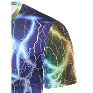 Fashion Round Collar Lightning Printing T-Shirt For Men - COLORFUL 2XL