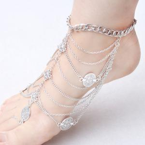 Punk Style Layered Coins Tassel Anklet -