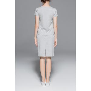Leter Tee and Sheath Skirt Suit -