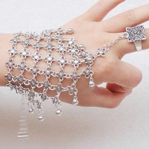 Gorgeous Layered Engraved Floral Bracelet With Ring For Women - Silver - One Size
