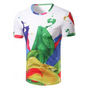 Fashion Round Collar Color Printing T-Shirt For Men
