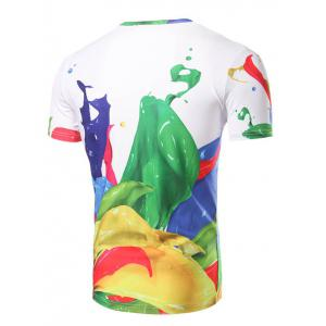 Fashion Round Collar Color Printing T-Shirt For Men - COLORMIX 2XL